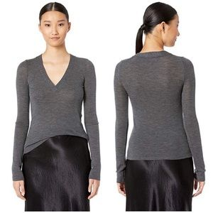 NWT Vince Heather Gray Long-Sleeve Wool V-Neck Top
